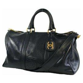 Chanel-CHANEL 2WAY coco mark Womens Boston bag black x gold hardware-Black,Gold hardware