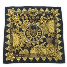 Hermès-HERMES Carre90 L'OR DES CHEFS Gold for the sheiks Womens scarf black-Black