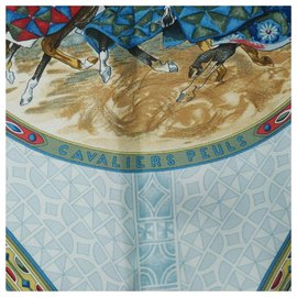 Hermès-HERMES Carre90 CAVALIERS PEULS Horsemen of the Peuls tribe Womens scarf Navy-Navy blue