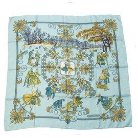 Hermès-HERMES Carre90 Joies d' Hiver Winter Delight Womens scarf Light blue-Light blue