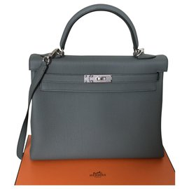 Hermès-Kelly Hermès II bag ,  template 32 cm, New condition , Jamais porté-Grey