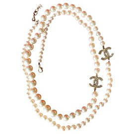Chanel-Chanel CC crystals long pearl lined strand necklace-Other