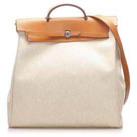 Hermès-Hermes Brown Herbag Backpack-Brown,Beige