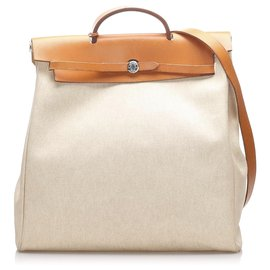 Hermès-Sac à dos Hermes Brown Herbag-Marron,Beige