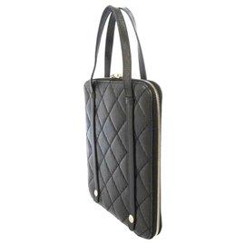 Chanel-Chanel Black Matelasse Leather Tablet Case-Black