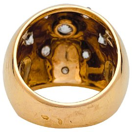 inconnue-Yellow gold and diamond dome ring.-Other