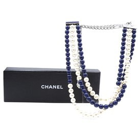 Chanel-Chanel Blue Cream Silver CC Beads Pearls Necklace-Blue