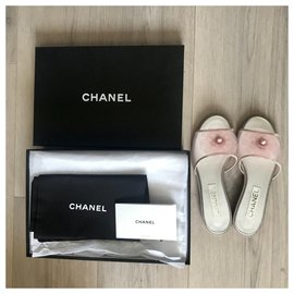 Chanel-Pastel pink camellia mules-Pink