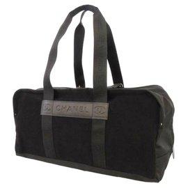 Chanel-Chanel Black Sport Line Nylon Duffle Bag-Black