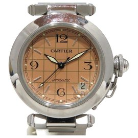 Cartier-Cartier Silver Stainless Steel Pasha C Automatic-Brown,Silvery,Light brown