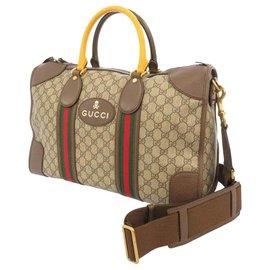 Gucci-Sac polochon Gucci Brown GG Supreme Web-Marron,Multicolore,Beige