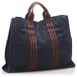 Hermès-Hermes Blue cabas MM-Marron,Bleu,Marron foncé,Bleu Marine