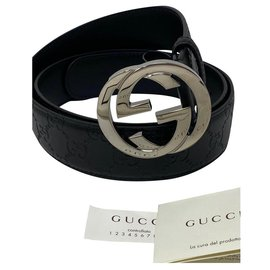 Gucci-GUCCI SIGNATURE GG BELT BBRAND NEW-Black
