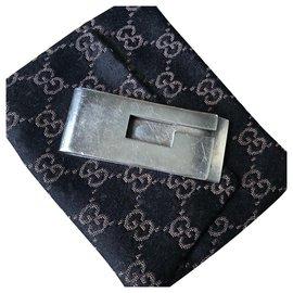 Gucci-Silver GUCCI money clip-Silvery
