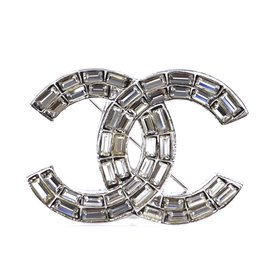 Chanel-Chanel Silver Baguette CC Crystals Brooch-Silvery