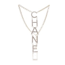 Chanel-Chanel Gold CC Logo Spelled Out Crystals Necklace-Golden