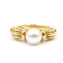 Tiffany & Co-TIFFANY & CO. yellow gold 750 18k Pearl Size 6-6.25 Ring-Golden
