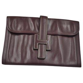 Hermès-Hermes 1980's Jige-Dark red