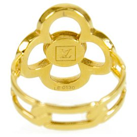 Louis Vuitton-LOUIS VUITTON Yellow Gold Strass Encrusted Flower Power Ring size 55-Gold hardware