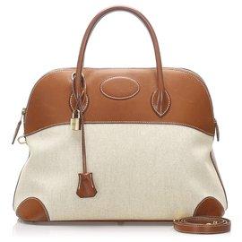 Hermès-Bolide en toile marron Hermès 35-Marron,Beige