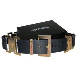 Chanel-Chanel belt in black leather-Black