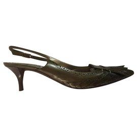 Bottega Veneta-Intrecciato sling back pumps with kitten heel-Khaki,Olive green