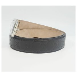 Gucci-GUCCI Ssima 90 Mens belt 162946 black-Black