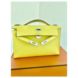 Hermès-Kelly clutch jaune lime-Jaune
