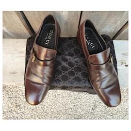Gucci-gucci p loafers 43,5-Brown