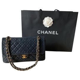 Chanel-TIMELESS-Navy blue,Gold hardware