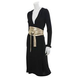 Diane Von Furstenberg-DvF Obi vintage dress-Black,Golden