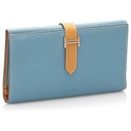 Hermès-Portefeuille long Hermes Blue Epsom Bearn-Bleu,Bleu clair