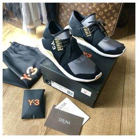 Y3-Y-3 QASA ELLE LACE-Black,White,Golden,Dark grey