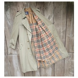 Burberry-men's Burberry vintage t trench coat 52 with removable wool lining-Khaki