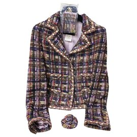 Chanel-RARE tweed jacket with brooch-Multiple colors