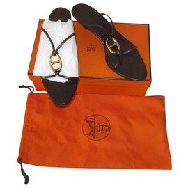 Hermès-Sandals-Dark brown