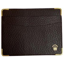 Rolex-ROLEX BROWN LEATHER CARD HOLDER-Dark brown