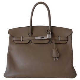 Hermès-SAC HERMES BIRKIN 35 GRIS TOURTERELLE-Gris