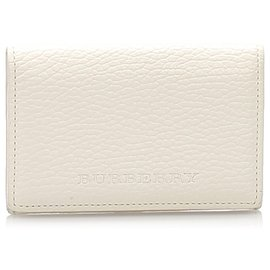 Burberry-Burberry White Leather Card Holder-White
