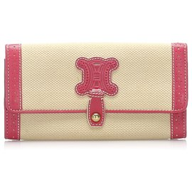 Céline-Celine Brown Macadam Canvas Long Wallet-Brown,Pink,Beige