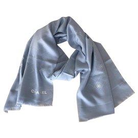Chanel-STOLE CHANEL WOOL-Light blue