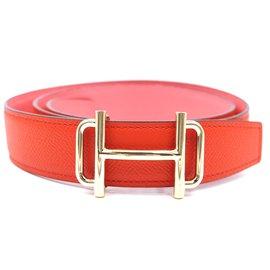Hermès-Hermes 32mm Gold H Royal Reversible Leather Belt Size 85-Orange