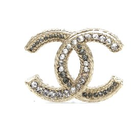 Chanel-Chanel Gold Timeless CC Crystals Textured Hardware Brooch-Golden