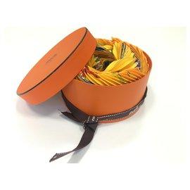 Hermès-Silk scarves-Orange,Yellow