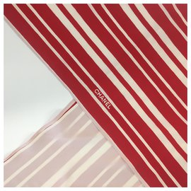 Chanel-Scarves-Red,Eggshell