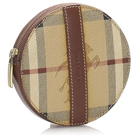 Burberry-Burberry Brown Haymarket Check Coin Pouch-Brown,Multiple colors,Light brown