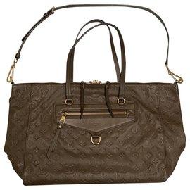 Louis Vuitton-LUMINEUSE CUIR MONOGRAM EMPREINTE GM-Brown