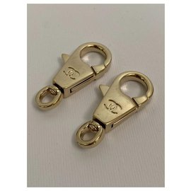 Chanel-2 Chanel Logos Gold Carabiner bag charms-Gold hardware