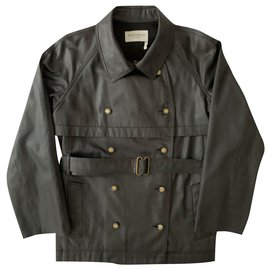 Yves Saint Laurent-Trench court en denim anthracite-Gris anthracite