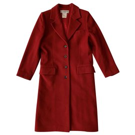 Yves Saint Laurent-Vintage red cachemire coat-Red
